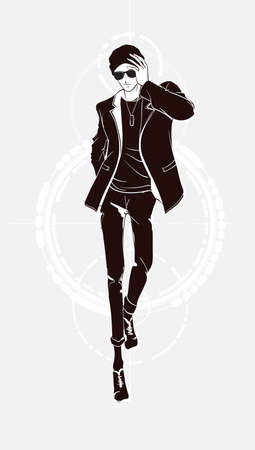 Stylish fashion man. Stylish handsome man in fashion clothes. Sketches on a white background. Vector illustration.