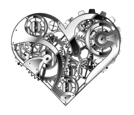 Hand drawn illustration of mechanical heart. Abstract valentine's day symbol.