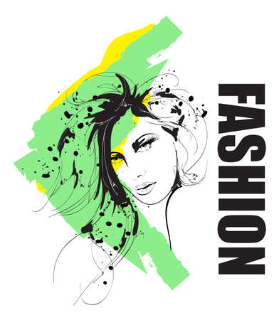 Fashion girls face. Woman face. Hand-drawn fashion model. Vector illustration for you design in graphic style.