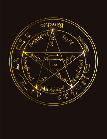 Illustration eines goldenen okkulten Symbols mit magischen Inschriften und Zeichen auf schwarzem Hintergrund. Vektorbanner im Retro-Stil. Das magische Pentagramm mit Inschriften, die die Götter auflisten