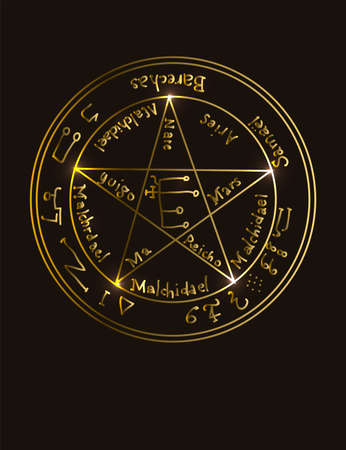 Illustration of a golden occult symbol with magical inscriptions and signs on a black background. Vector banner in retro style. The magic pentacle sign with inscriptions listing the gods
