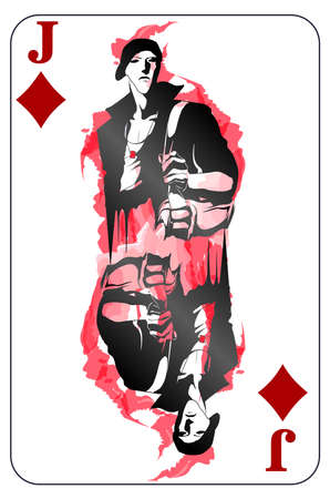 Jack. Playing card with a Tiles sign. Game Jack symbol. Isolated card with a fashionable guy. Illustration