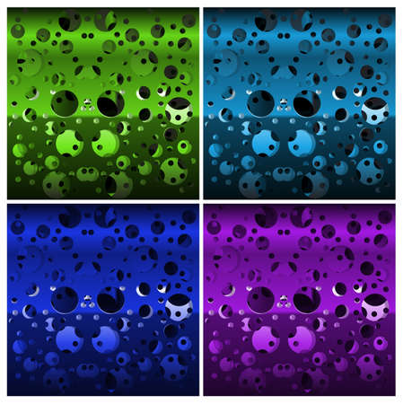 Set of textures of perforated multi-layer iron, different colors Illustration