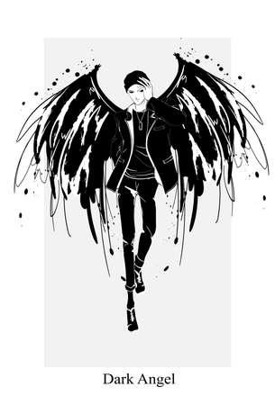 Angel man. Dark angel. Vector image of beauty fashion angel man. Fashion angel.