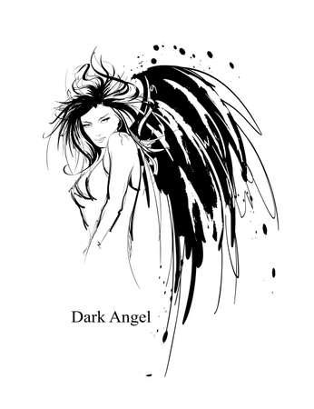 Chica Angel. Ángel oscuro. Vector de la imagen de la chica del ángel de la moda de belleza. Ángel de la moda.