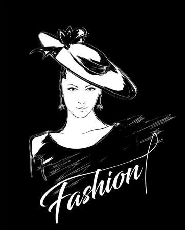 Fashion girls face. Woman face. Hand-drawn fashion model. Girl face in a fashionable hat on a black background. Ilustração