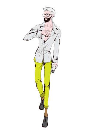 Homme de mode élégant. Bel homme élégant dans des vêtements de mode. Croquis sur fond blanc. Illustration vectorielle.