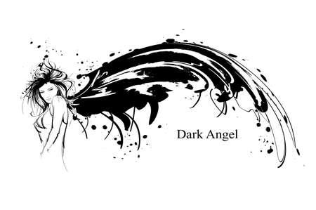 Engel Mädchen. Dunkler Engel. Vektorbild des Schönheitsmodeengelmädchens. Mode Engel. Vektorgrafik