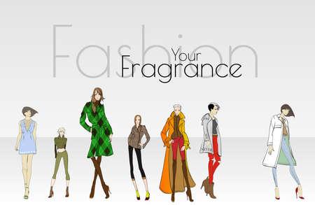 Stylish fashion models. Pretty young girls. Fashion womans Sketch