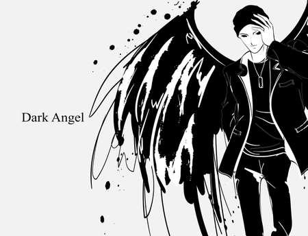 Hombre ángel. Ángel oscuro. Vector de la imagen del hombre del ángel de la moda de la belleza. Ángel de la moda. Ilustración de vector