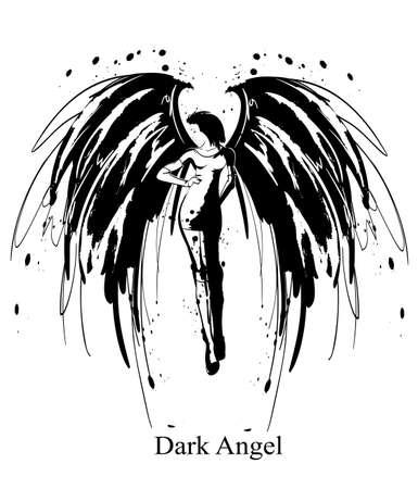 Ragazza Angelo. Angelo nero. Immagine di vettore della ragazza di bellezza moda angelo. Angelo della moda.