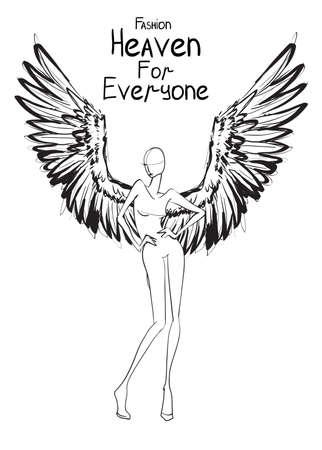 Angel girl. Fashion model angel. Vector image of beauty fashion angel woman. Illustration