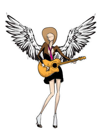 Angel girl. Fashion model angel. Vector image of beauty fashion angel woman. Imagens - 121195280