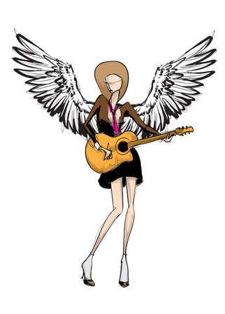 Angel girl. Fashion model angel. Vector image of beauty fashion angel woman. Ilustração