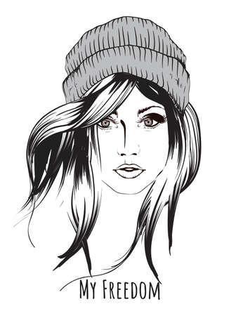 Cara de chicas de moda. Rostro de mujer. Modelo de moda dibujado a mano. Ilustración vectorial para diseñar en estilo gráfico.