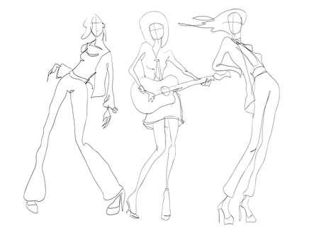 Stylish fashion models. Pretty young girls. Fashion womans Sketch Illustration