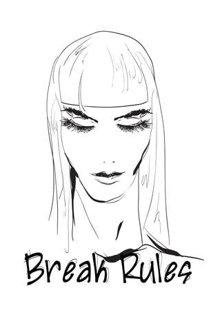 Fashion girls face. Woman face. Hand-drawn fashion model. Girl face on a white background. Break rules.