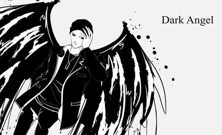 Angel man. Dark angel. Vector image of beauty fashion angel man. Fashion angel. Stock fotó - 122309490