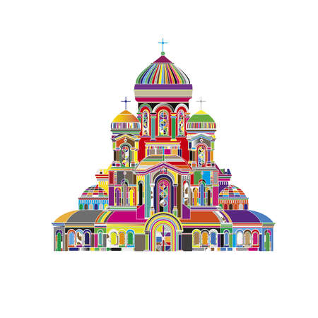 Abstract Cathedral orthodox church temple building landmark tourism world religions and famous structure traditional city. Ancient old tower vector illustration Ilustrace