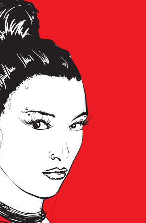 Fashion girls face. Woman face. Hand-drawn fashion model. Girl face on a red background. Stock Illustratie
