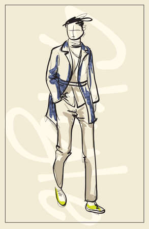 Stylish fashion man. Stylish handsome man in fashion clothes. Sketches on a white background. Vector illustration. Vecteurs
