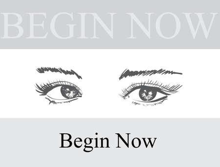 50b119cb70d Hand drawn vector illustration. Beautiful woman eye makeup. Fashion sketch.