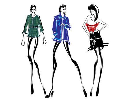 Modelli di moda schizzo disegnato a mano, sagome stilizzate isolate. Insieme dell'illustrazione di moda di vettore. Vettoriali