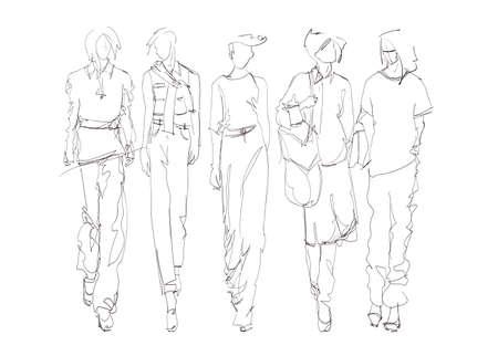 Fashion models sketch hand drawn , stylized silhouettes isolated.Vector fashion illustration set. Illustration
