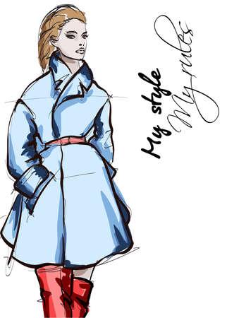 Beautiful young women in blue coat. Hand drawn fashion girl. Fashion model posing. Sketch. Vector illustration. Illustration