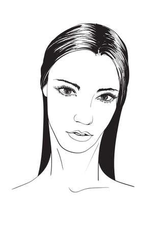 Schöne junge Frau mit Frisur und ausdrucksstarkem Blick. Mode-Skizze. Gesicht der Modemädchen. Handgezeichnetes Modemodell. Frauengesicht auf weißem Hintergrund. Kosmetika.