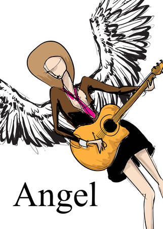 Angel girl. Vector sketch girl with wings. Fashion angel. Vector illustration.