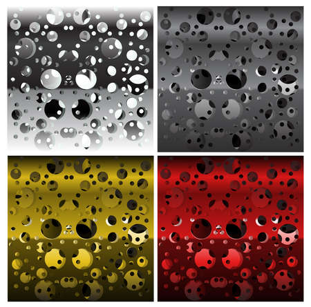Set of textures of perforated multi-layer iron, different colors Ilustracja