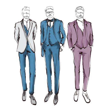 Hombres guapos con estilo en ropa de moda. Dibujado a mano hermosos hombres jóvenes. Hombres con estilo. Boceto de moda para hombre. Modelo de hombre de moda.