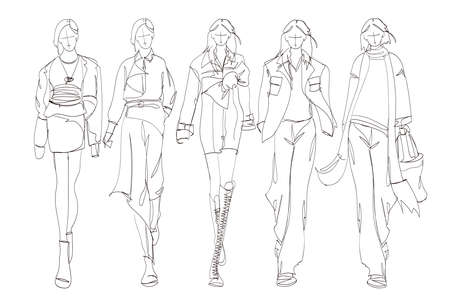 Beautiful young womens. Hand drawn fashion girls. Fashion model posing. Sketch. Vector illustration set.