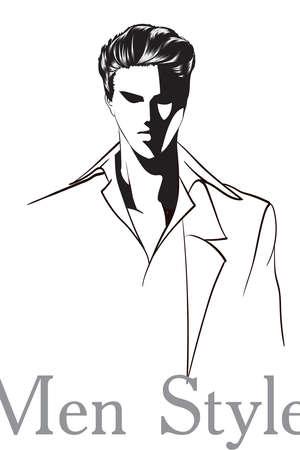Vector young man models. Fashion sketch. Fashion man in a jacket and shirt. Hand-drawn fashion model.