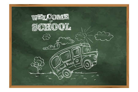 Welcome to school. A blackboard with a school bus. Drawing on the topic of education.