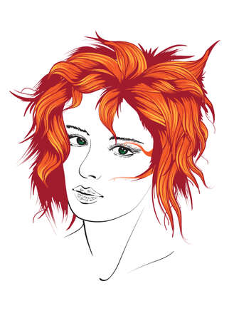 Beautiful young woman with hairstyle and expressive look. Fashion sketch. Fashion girls face. Hand-drawn fashion model. Woman face on a white background. Cosmetics.