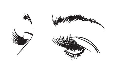 Hand drawn vector illustration. Beautiful woman eye makeup. Fashion sketch.