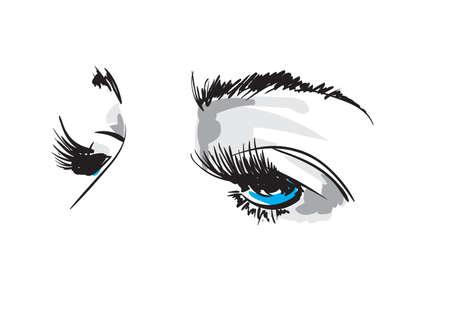 Hand drawn vector illustration. Beautiful woman eye makeup. Fashion sketch of a blue-eyed girl. Çizim
