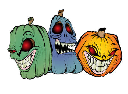 Halloween Pumpkins. Set of halloween pumpkins, sinister faces. Autumn holidays. Vector illustration