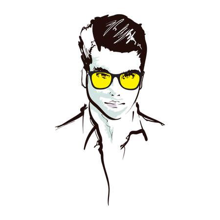 Retrato de hombre guapo de moda. Rostro de hombre. Ilustración de vector doodle aislado en blanco. Retrato de hombre guapo de moda. Cara de hombre