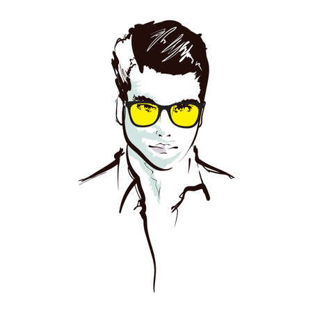 Handsome fashion men`s portrait. Man`s face. Vector doodle illustration isolated on white. Handsome fashion men`s portrait. Man`s face