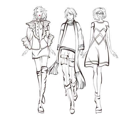 Beautiful young women. Hand drawn stylish woman portrait. Fashion lady. Winter outfit. Sketch. Fashion model posing in coat. Hand drawn fashion woman.