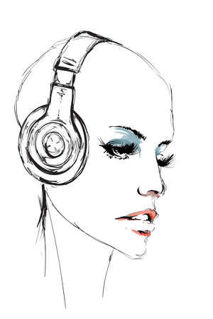 Beautiful young woman. Fashion sketch. Bald girl face in headphones. Hand-drawn fashion model. Woman face on a white background. Illustration