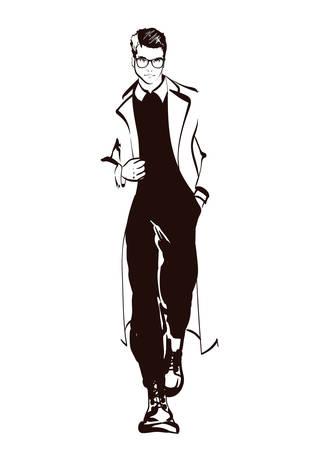 Stylish handsome man in fashion clothes. Fashion man. Hand drawn male model. Sketch. Vector illustration. Illustration