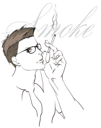 The face of a man. Fashionable portrait. Vector sketch of a smoking man on a white background. Hipster smoker. Smoking. Vettoriali