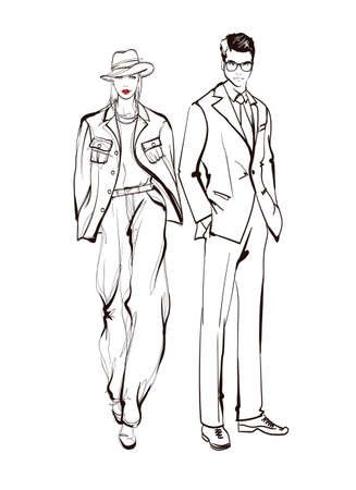 Stylish man and woman sketch Fashion Collection Of Clothes Set Of Models Wearing Trendy Clothing Sketch Vector woman and man Illustration Banque d'images - 142913314