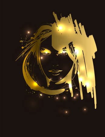 Vector illustration of golden woman face. Fashion girls face. Woman face