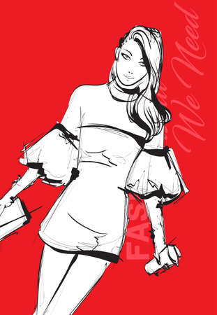 Beautiful young woman on a red background in modern style. Hand drawn stylish woman portrait. Fashion lady. Sketch. Fashion model posing in a stylish dress. Hand drawn fashion woman.
