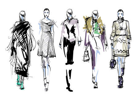 Beautiful young women in modern style.. Hand drawn stylish woman portrait. Fashion lady. Festive outfit. Sketch. Fashion model posing in dress. Hand drawn fashion woman.